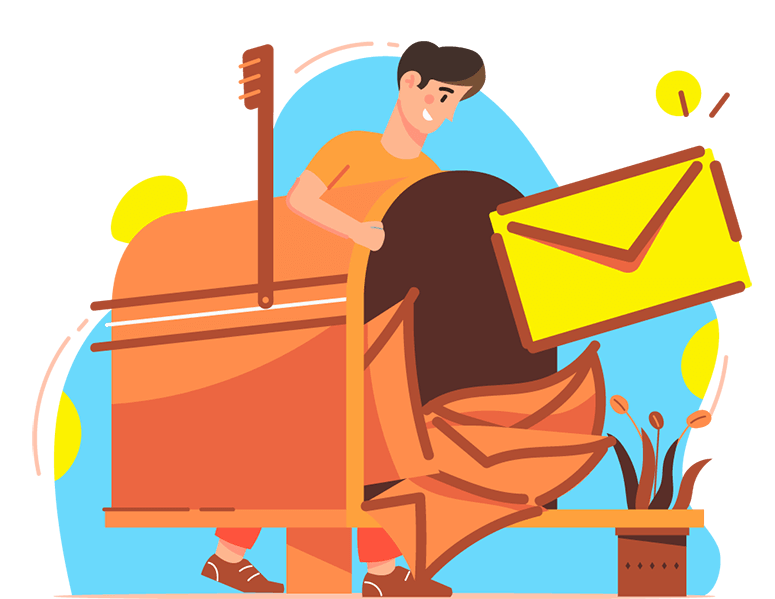 Graphic of boy getting mail